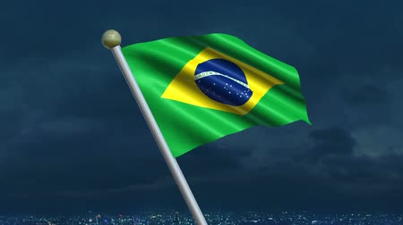 minas gerais : Looping Brazilian Flag animation with sky background.