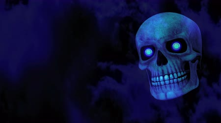 dia das bruxas : Blue Spooky Halloween Skull - 4K Resolution Ultra HD Vídeos