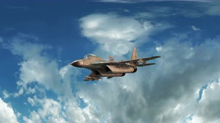 истребитель : Fighter jet animation flying through cloudy sky.