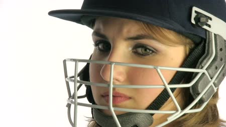 kriket : Woman with a cricket helmet