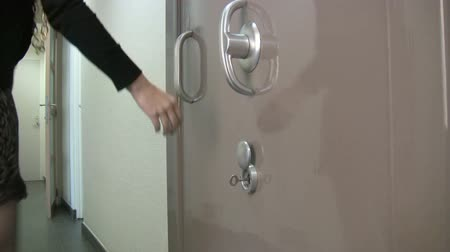 bank : Opening a vaulted door with a special key  Stock Footage