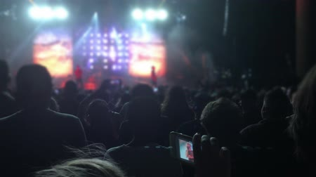 ator : Silhouettes of People in the Bright Lights of a Concert 4K