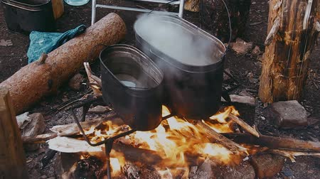 костра : Water Boils in a Pot Over the Fire Стоковые видеозаписи