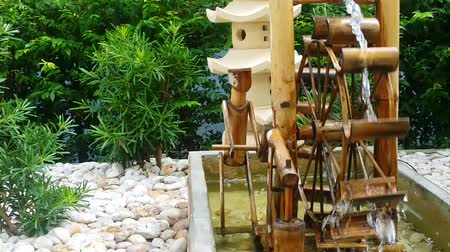 irrigate : Turbine made from bamboo. Stock Footage
