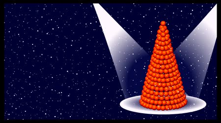 var : Pyramid of mandarins develops and illuminated by rays of light