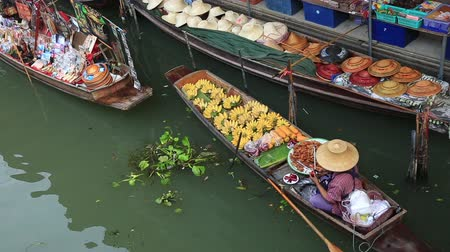 sell : DAMNOEN SADUAK, THAILAND - JANUARY 30 2015: Tourists at the Damnoen Saduak Floating Market on January 30, 2015 in Damnoen Saduak, Thailand. Stock Footage