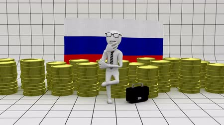 обязательство : Economy in Russia - finance concept - white man with money