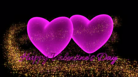 zaproszenie : Pink hearts with sparkle glitter and text Valentines Day -  3D render video Wideo