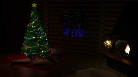 helyek : Christmas tree, gift boxes and fireplace