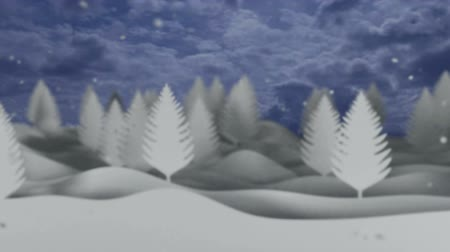 hóesés : snowfall video background with white trees and snowflakes