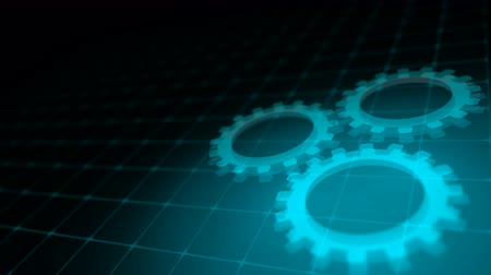proces : Concept of cooperation process - blue neon gears loop 3D render Dostupné videozáznamy