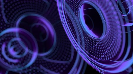 reproduktory : seamless vj musical motion loop - neon speakers. 3D render
