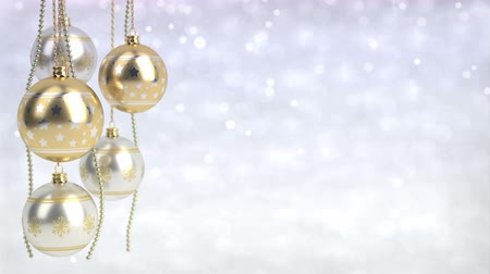 golden and silver christmas balls with bokeh background. Seamless loop. 3D render