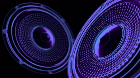 vj musical seamless loop - neon speakers. 3D render Стоковые видеозаписи