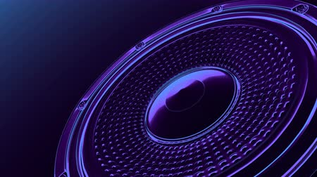 seamless vj musical motion loop - neon speaker in the corner. 3D render
