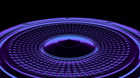 seamless vj musical motion loop - neon speaker. 3D render