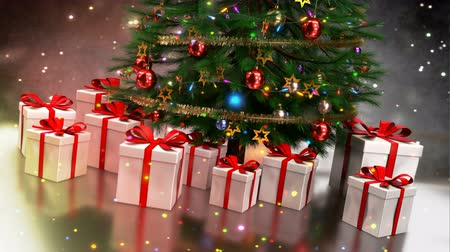 Christmas gifts with tree on colorful bokeh background. Seamless loop. 3D render.