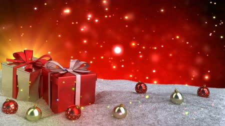 Christmas gifts in snow on red bokeh background. Seamless loop. 3D render. Стоковые видеозаписи