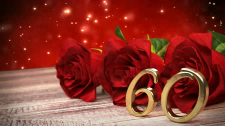 seamless loop birthday background with red roses on wooden desk. sixtieth birthday. 60th. 3D render Стоковые видеозаписи