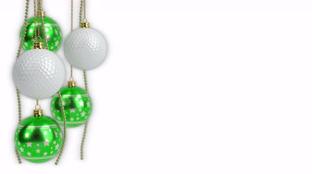christmas balls and golf balls theme. 3D render. seamless loop Стоковые видеозаписи