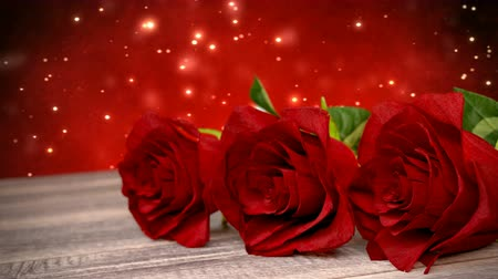 seamless loop birthday background with red roses on wooden desk. 3D render