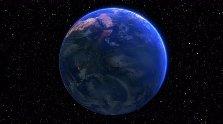 rotating planet earth in space. seamless loop - 3D render