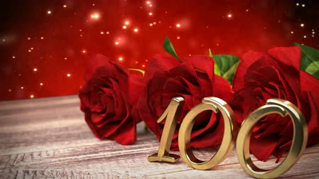 seamless loop birthday background with red roses on wooden desk. hundredth birthday. 90th. 3D render