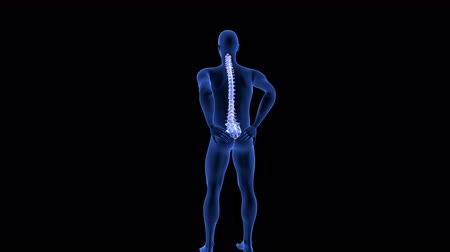 Spine Pain. Blue Human Anatomy Body 3D scan render on black background Стоковые видеозаписи