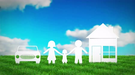 paper family with house and car on grass field. 3D render animation