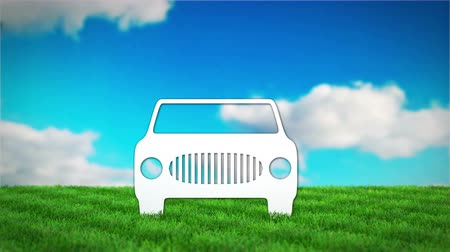 paper car on grass field. 3D render animation Стоковые видеозаписи