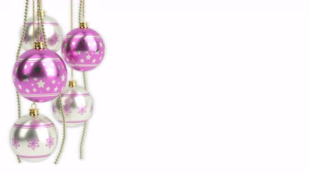 silver and pink christmas balls isolated on white. 3D render. seamless loop