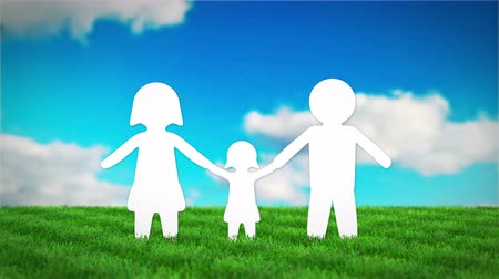 residencial : paper family animation on grass field. 3D render Stock Footage