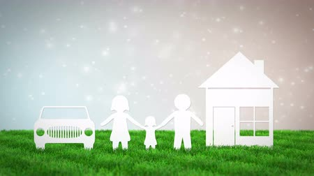 paper family with house and car on bokeh background. 3D render animation Стоковые видеозаписи
