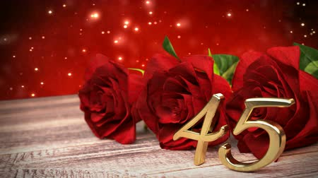 cadeaus : seamless loop birthday background with red roses on wooden desk. fortyfifth birthday. 45th. 3D render
