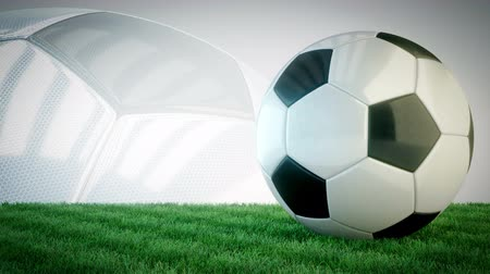 mistrovství : Rotating glossy soccer ball on grass field - seamless loop