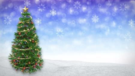 szenteste : rotating Christmas tree on blue winter background. 3D render.seamless loop