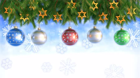 С Рождеством : Christmas Decorations Hanging and Rotating From Twigs- 3D render. Seamless loop