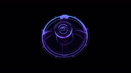 seamless vj musical motion loop - rotating neon speaker. 3D render Стоковые видеозаписи