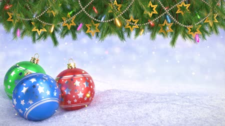 díszítés : Christmas balls in snow and Twigs decoration on bokeh background - 3D render. Seamless loop