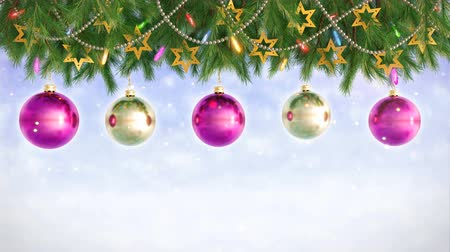 боке : Christmas Decorations Hanging and Rotating From Twigs- 3D render. Seamless loop