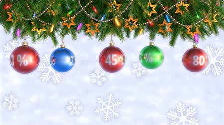 dekorasyon : Huge discounts background. Christmas sale. post-Christmas discounts. Seamless loop. 3D render Stok Video