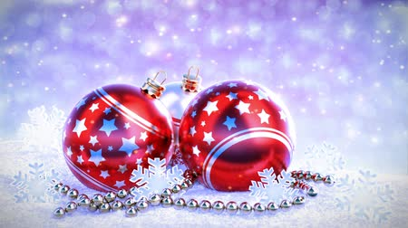 celebration : red and silver christmas balls on snow with glitter bokeh background. Seamless loop. 3D render