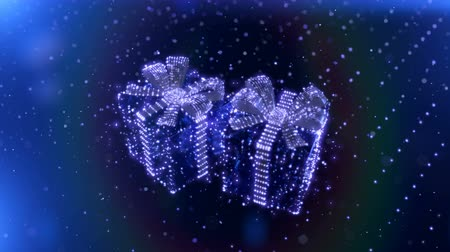 dekorasyon : Magic Blue Neon Christmas gifts with bokeh particles background. Seamless loop. 3D render. Stok Video