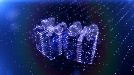 kutlama : Magic Blue Neon Christmas gifts with bokeh particles background. 3D render. Stok Video