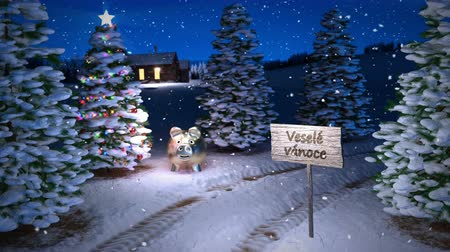 noc : animation of magic czech winter scene with cottage and christmas tree. 3D render. seamless loop Wideo
