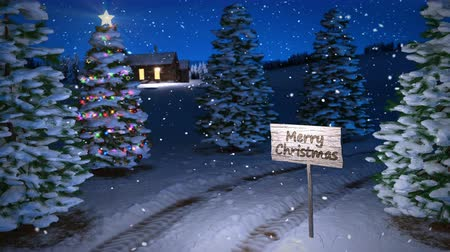 noc : animation of magic winter scene with cottage and christmas tree. 3D render. seamless loop