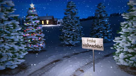 animation of magic german winter scene with cottage and christmas tree. 3D render. seamless loop