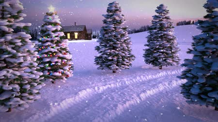 animation of magic winter sunset scene with cottage and christmas tree. 3D render. seamless loop