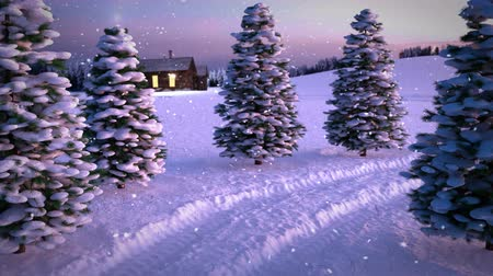 animation of magic winter snowfall sunset scene with snowy meadow a nd cottage. 3D render. seamless loop Стоковые видеозаписи