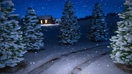 animation of magic winter snowfall night scene with snowy meadow and cottage. 3D render. seamless loop